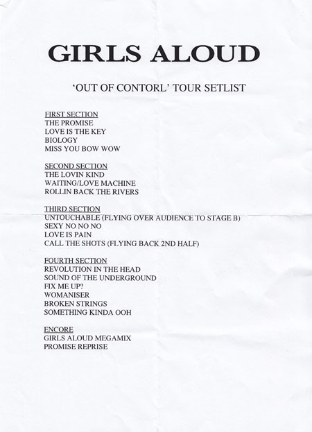 girls aloud set list