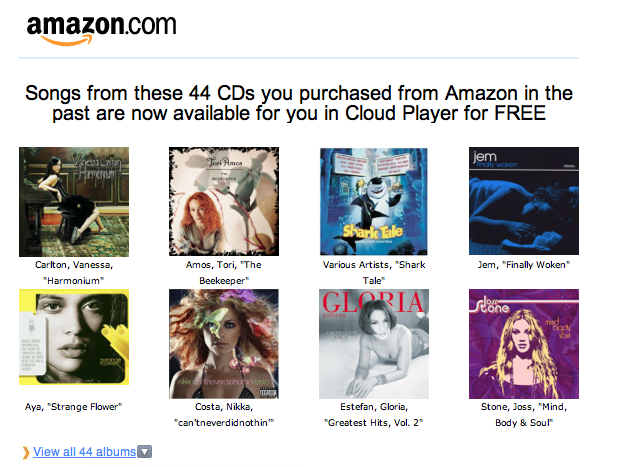 amazon cloud player new free mp3 cd